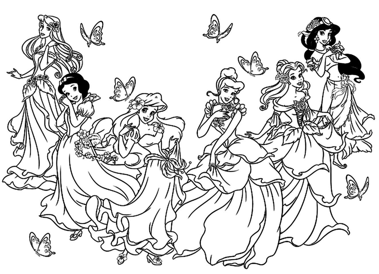 Раскраска с принцессами дисней онлайн, картинки